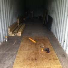 A 40' container doubles as my shed for the project.