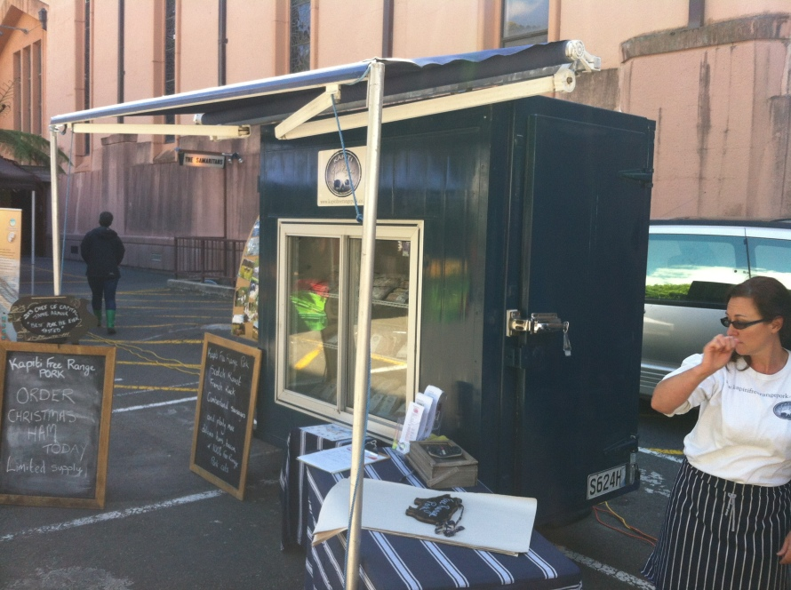 The Kapiti Free Range refrigerated stall at Hill Street Market.