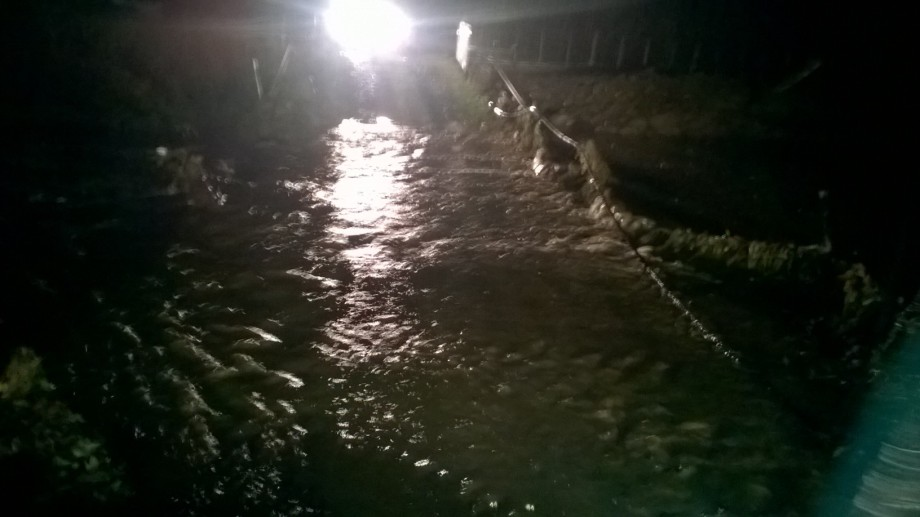 It was dark so the image is not very clear but at 11pm this 'river' was actually the farm track into the paddock.